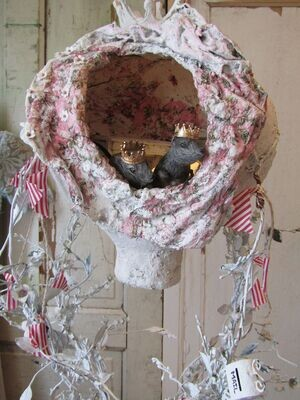Plaster of Paris Hot air balloon sculpture art home decor, created by Anita Spero