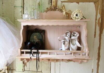 Large handmade soft sophisticated pink wood wall shelf with gold accent and detailed