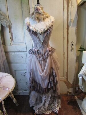 Incredible antique mannequin dress form. Detailed in French Tambour lace and vintage pieces.