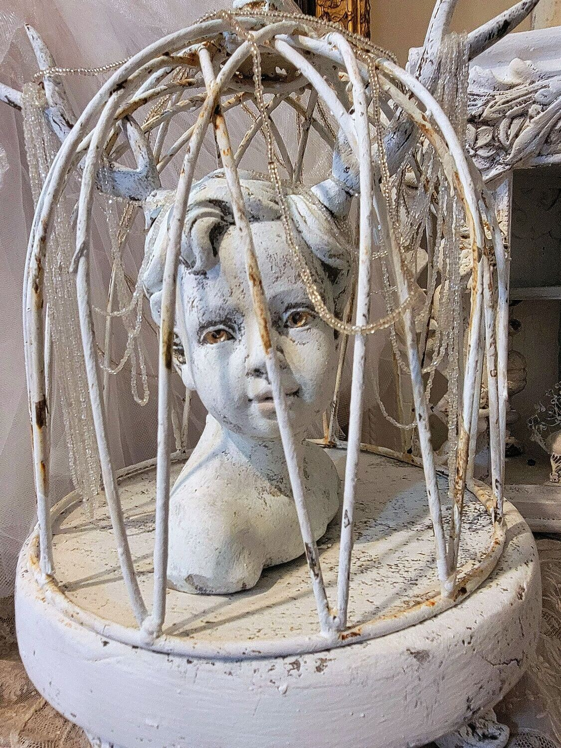 White sculpture table decor, young boy with antlers in dome with base, handmade one of a kind art