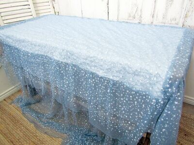 Wispy blue and white starry night runner, bed scarf, throw