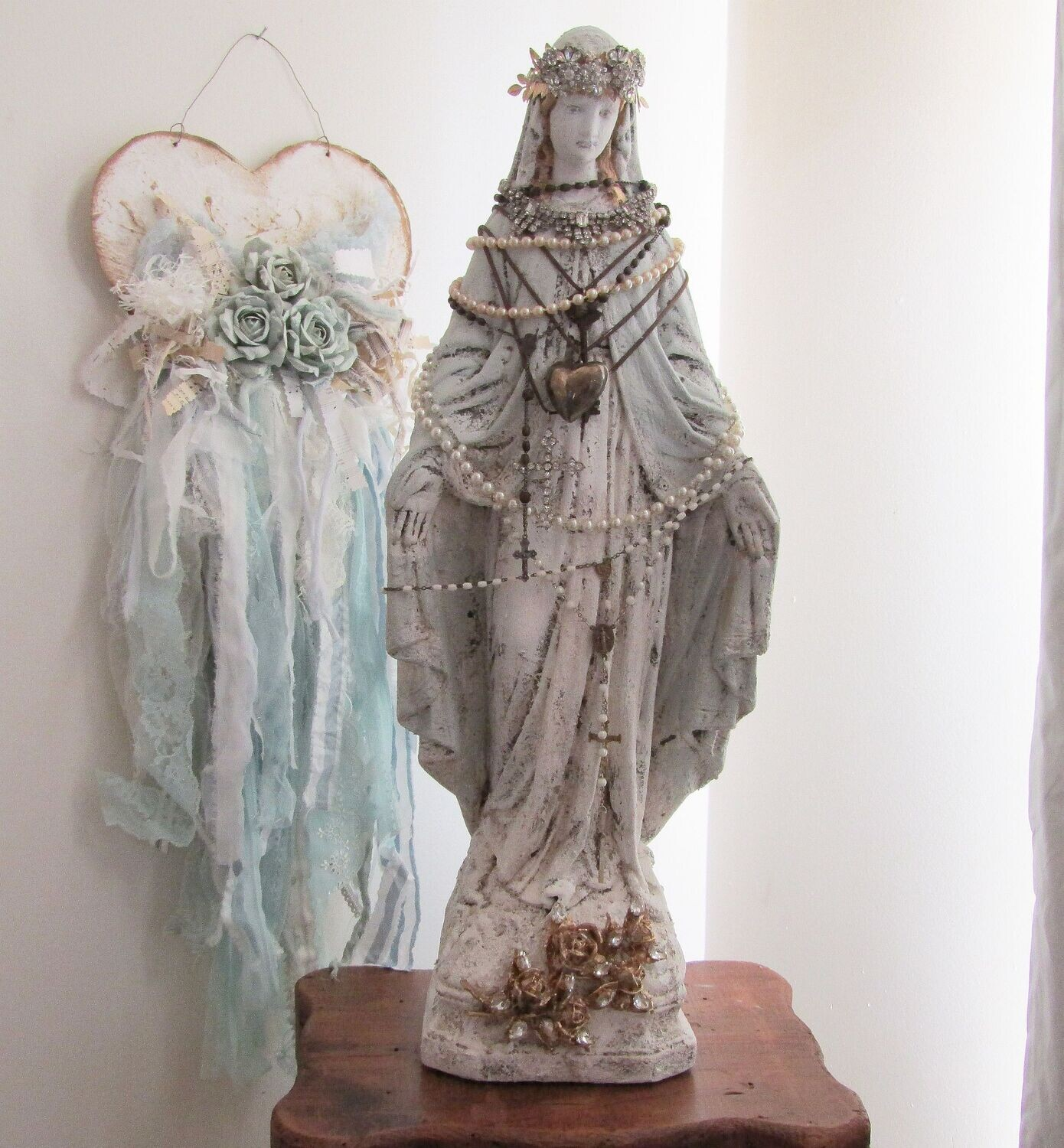 Antique Virgin Mary statue with crown, embellished Madonna