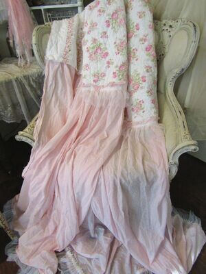Tattered shabby chic quilt and pink cotton panels versatile piece