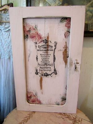 Shabby pink wood cabinet for walls or tables, antique salvaged wooden medicine cabinet French roses