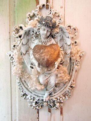 Vintage framed angel wall decor, home accent