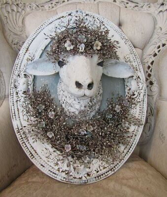 White sheep head wall mount decor, framed wall hanging one of a kind,