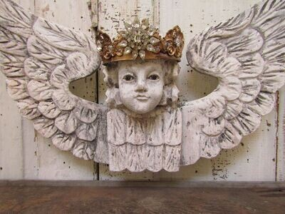 Santos wood winged cherub with glass eyes wall decor, French style white painted cherub with crown