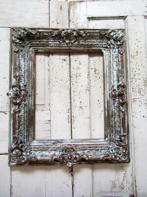 """Large vintage wood/ gesso wall frame, distressed rustic antique 30.5"""" by 26.5"""
