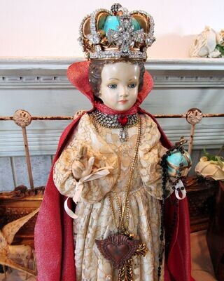 Large antique Infant of Prague statue rhinestone embellished crown, one of a kind collectible decor