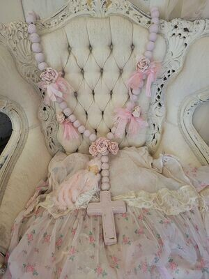 Large handmade pink clay rosary wall decor embellished tassel and roses