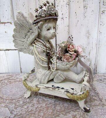 Vintage carved wood Cherub with large wings and crown