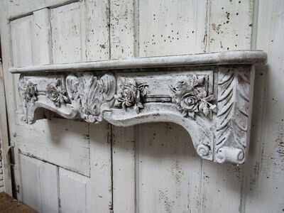 Large white distressed shelf for display, embellished with roses