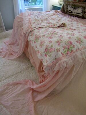 Pink rose shabby chic runner or bed scarf versatile home textile decor