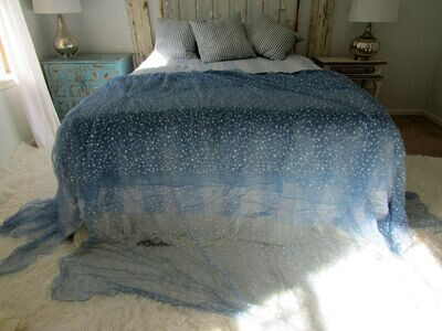 Tattered shabby chic wispy blue and white star fabric bed scarf, throw, tablecloth runner