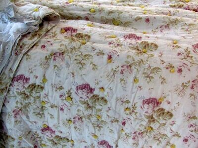 French antique quilt and cotton fabrics handmade runner, bed scarf