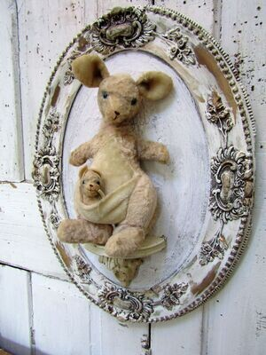 Storybook style Kangaroo with baby in pouch wall decor