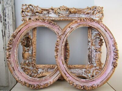 Shabby chic wall frame grouping pink and gold distressed wall decor