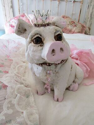 Large French pig statue with glass eyes, painted pink and white
