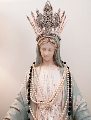 SOLD Large Virgin Mary statue with rhinestone crown home decor