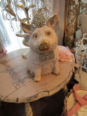 Fancy farmhouse pig statue with crown, gold accents and rhinestone bowtie