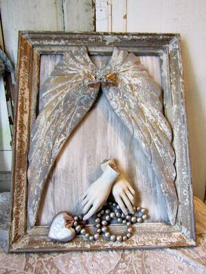 Framed Santos angel cherub wall decor, Framed wings and hands 3D watchful angel wall piece