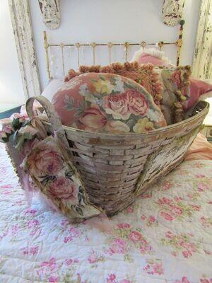 Large painted gathering basket cottage style home decor