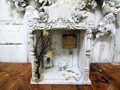Handmade white wood display , showcase for collectibles