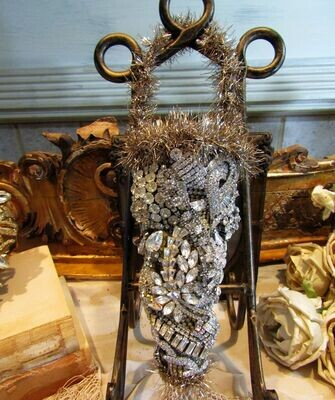 Collectible rhinestone embellished Tussie Mussie flower cone