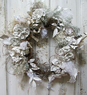 Large French Nordic white wreath, handmade plaster dipped roses door wreath