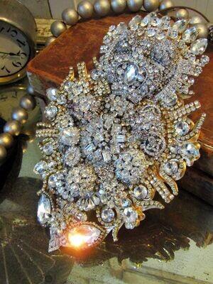 Large rhinestone embellished Santos sacred heart, French flaming heart garland