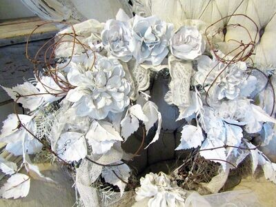 White wreath wall or door decor handmade dipped plaster flowers, tattered laces and pearls