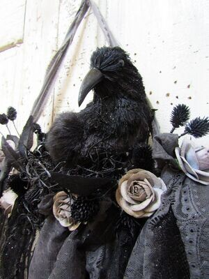 Black Gothic Victorian crow and lace garland large wall decor
