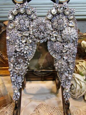 Rhinestone crystal embellished angel wings, wall or table decor