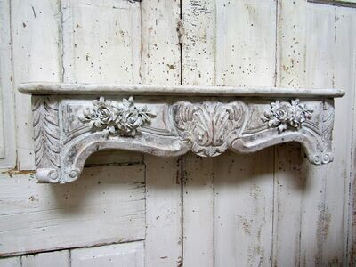 Ornate wood carved shelf with roses, white distressed cornice