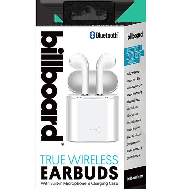 Billboard Bluetooth Wireless Earbuds Headset - White