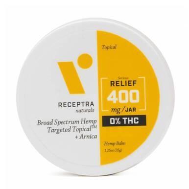Receptra Naturals - CBD Topical - Broad Spectrum RELIEF Balm + Arnica - 400mg