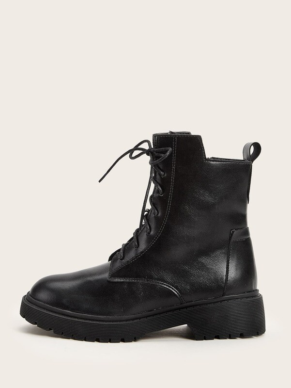 Side Zip Lace-up Front Ankle Boots