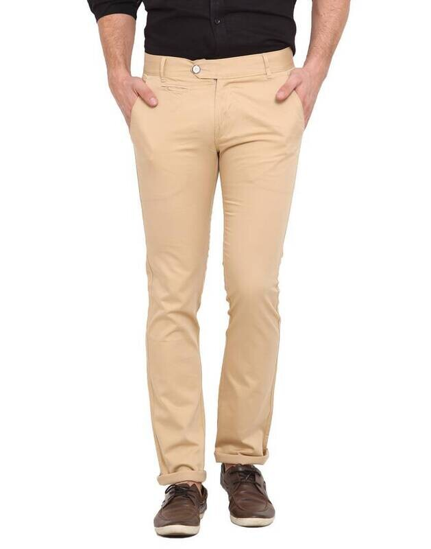 Stylish Cotton Beige Solid Smart Fit Chinos For Men