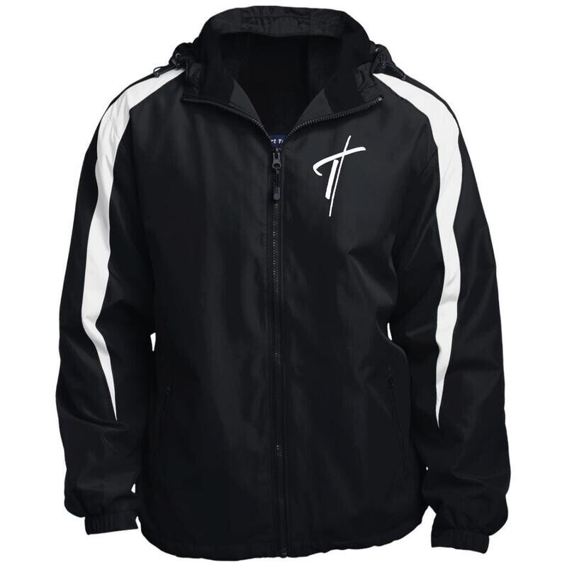 Mens Sports Jacket, Embroidered Cross Fleece Lined Colorblock Hooded Jacket
