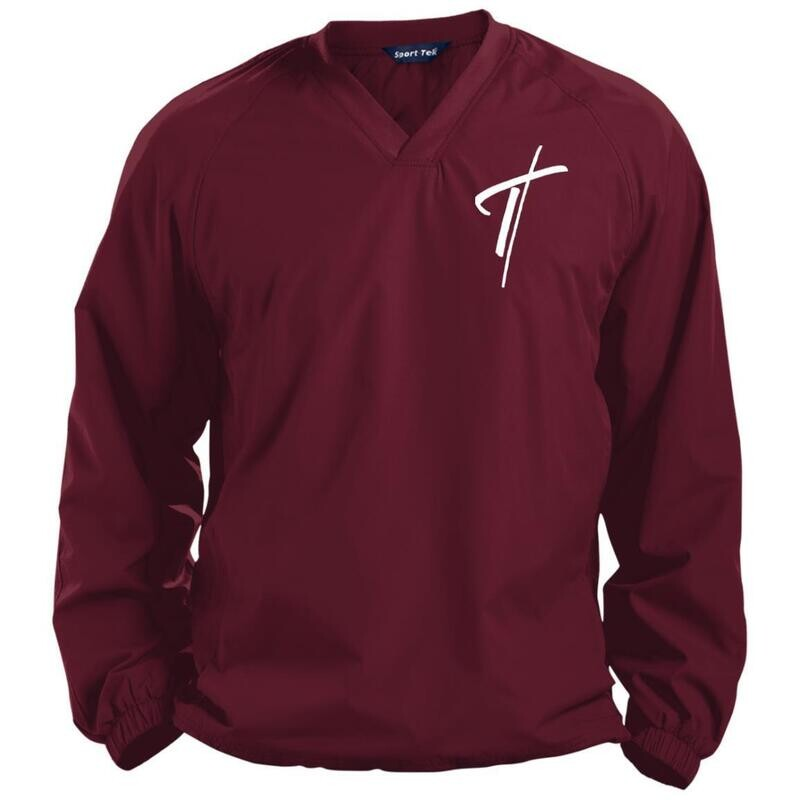 Mens V-Neck Pullover, Embroidered Cross Long Sleeve Windshirt