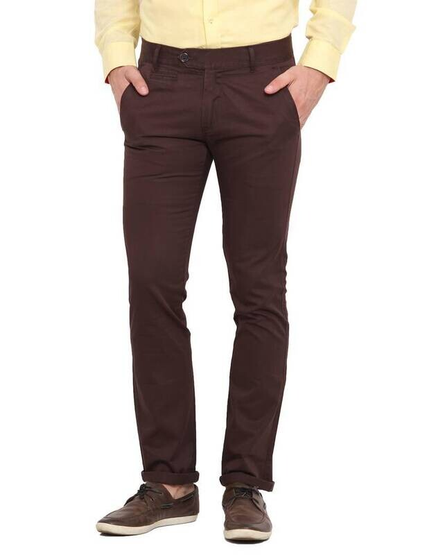 Stylish Cotton Brown Solid Smart Fit Chinos For Men
