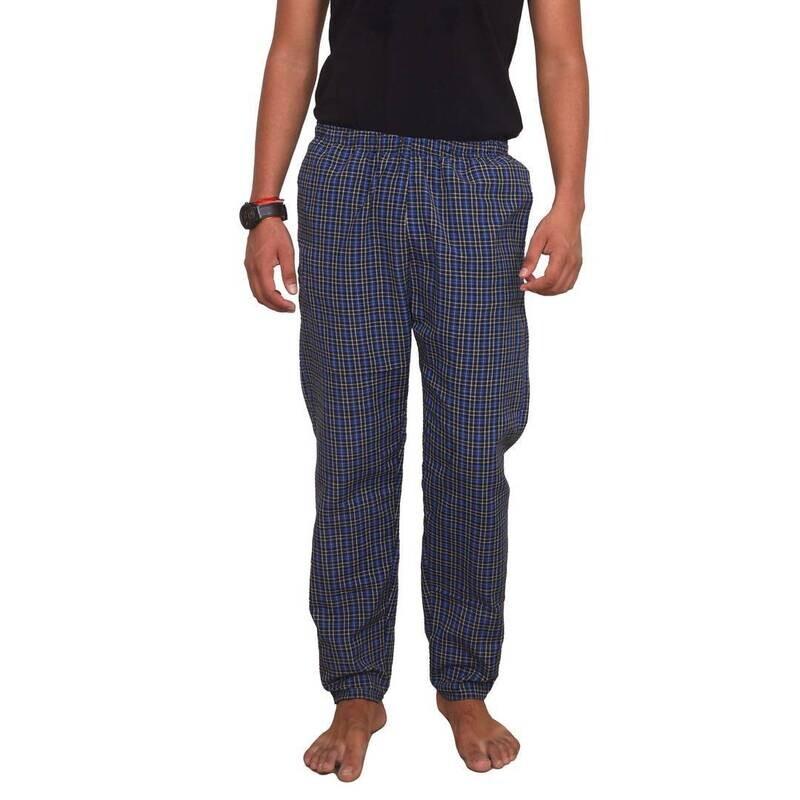 Alluring Blue Cotton Checked Regular Track Pants For Men