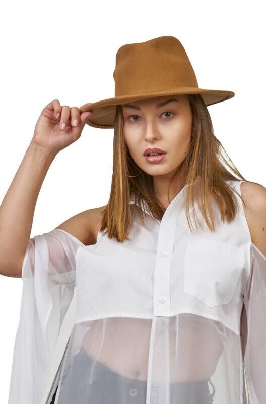 Felt Fedora Hat - Black/Tan