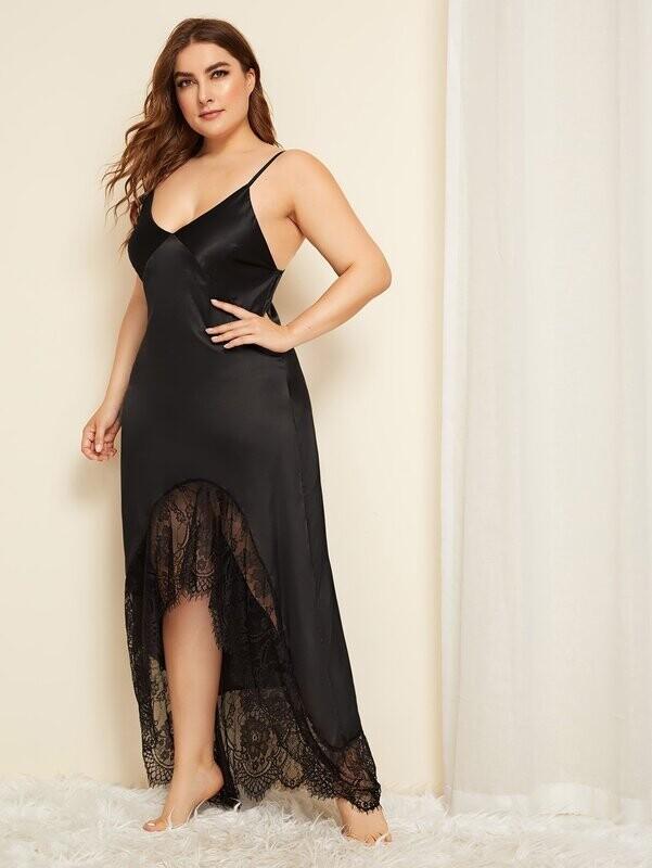 Plus Lace Trim Cut Out Satin Night Dress