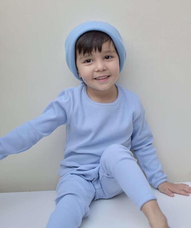 Powder Blue Ribbed Lounge Set Unisex Pyjama