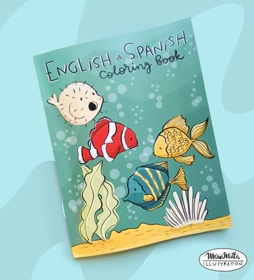 English/Spanish Coloring book- paperback