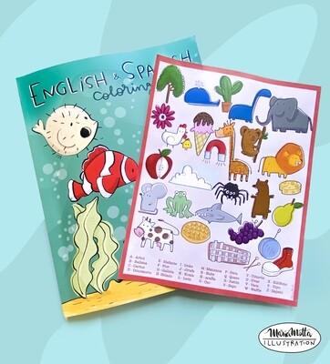 English/Spanish Coloring paperback book and print - Bundle