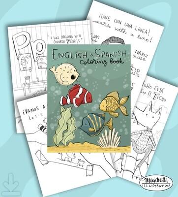 English/Spanish Coloring Ebook