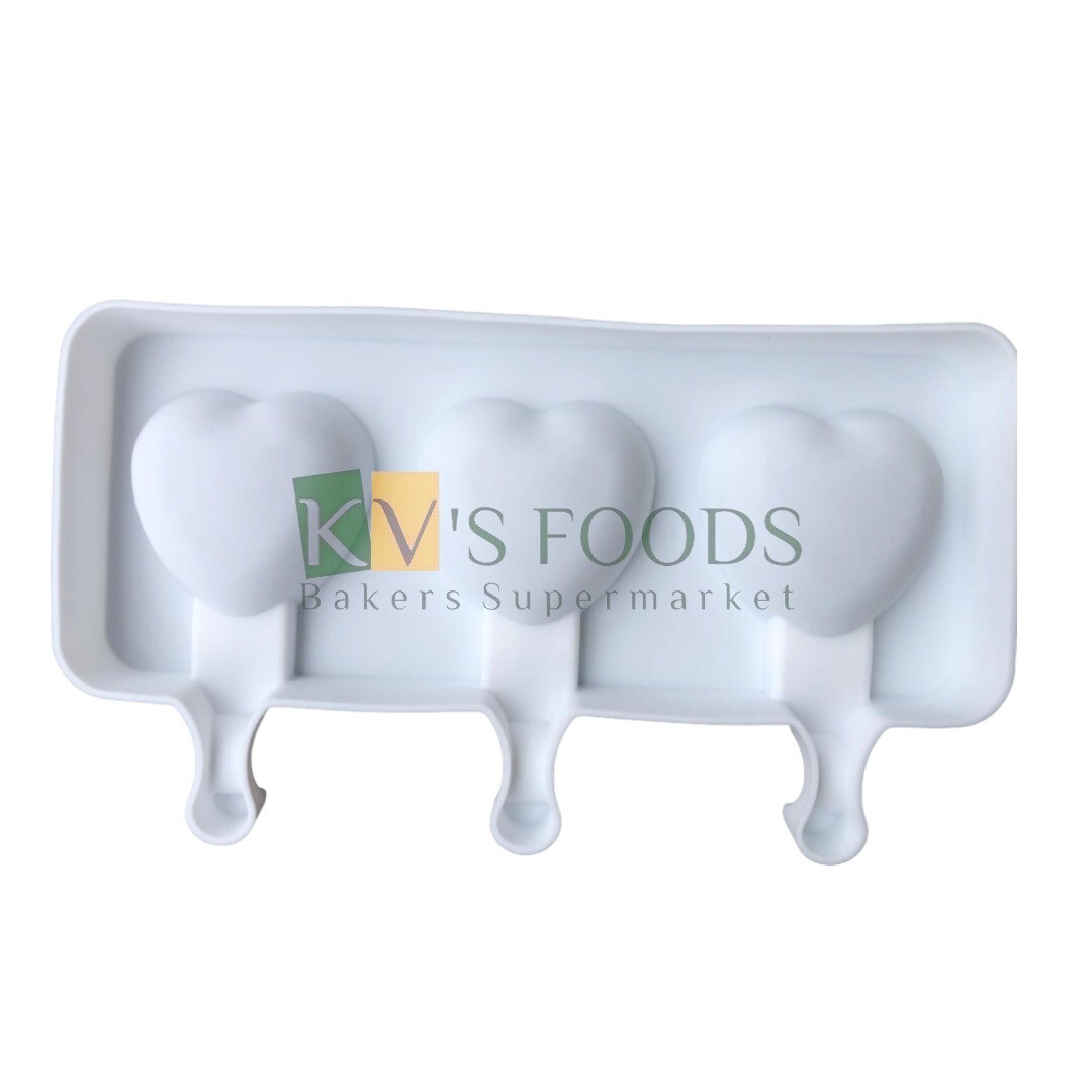 3 Cavity Heart Shape Cakesicle, Popsicle, Ice Pop Silicon Mould