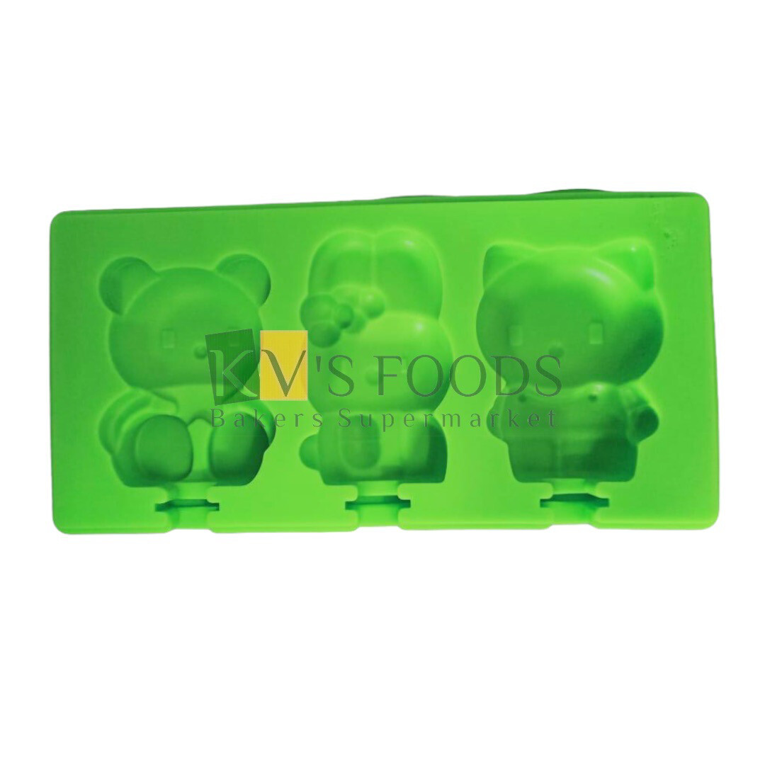 3 Cavity Hello Kitty and Teddy Shape Cakesicle, Popsicle, Ice Pop  Silicon Mould